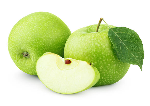 Green apples with leaf and slice isolated on white - Photo