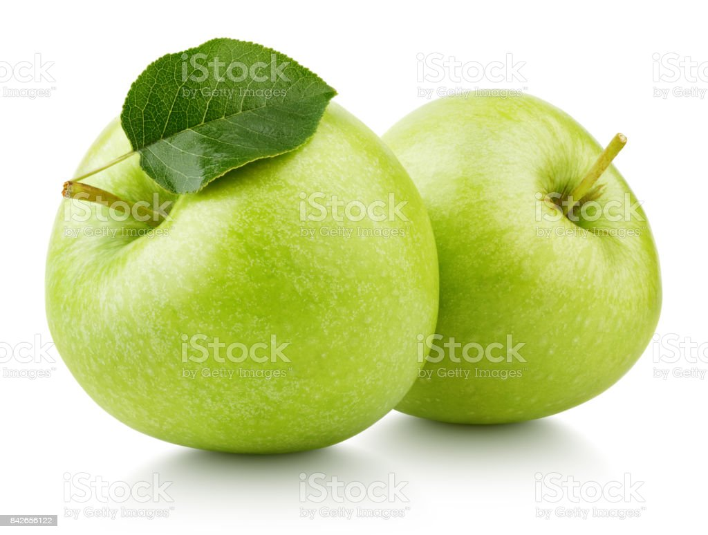 Green apples with leaf isolated on white stock photo