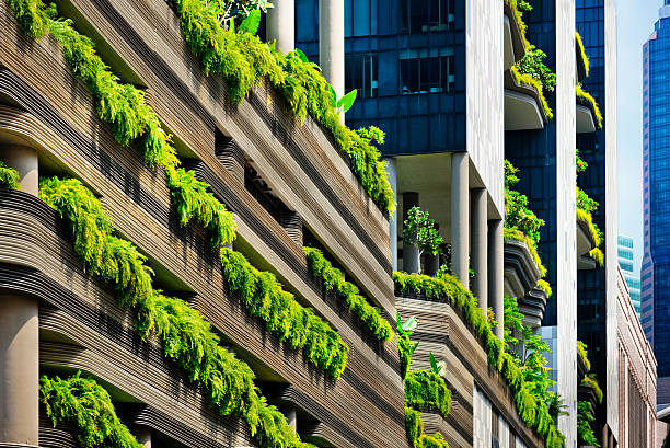 green architecture in singapore city - singapore nature stock photos and pictures
