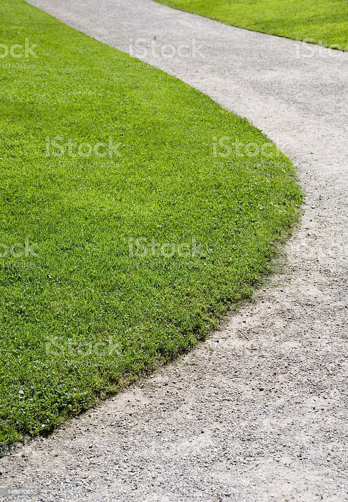 Green area with sidewalk royalty-free stock photo
