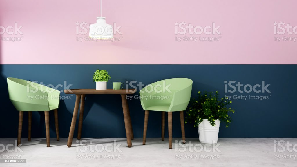 Green Armchair With Dark Blue Wall And Pink Wall In Dining Room Dining Area Design Of Artwork Restaurant Or Coffee Shop Interior Simple Design For Home Or Hotel 3d Illustration Stock Photo