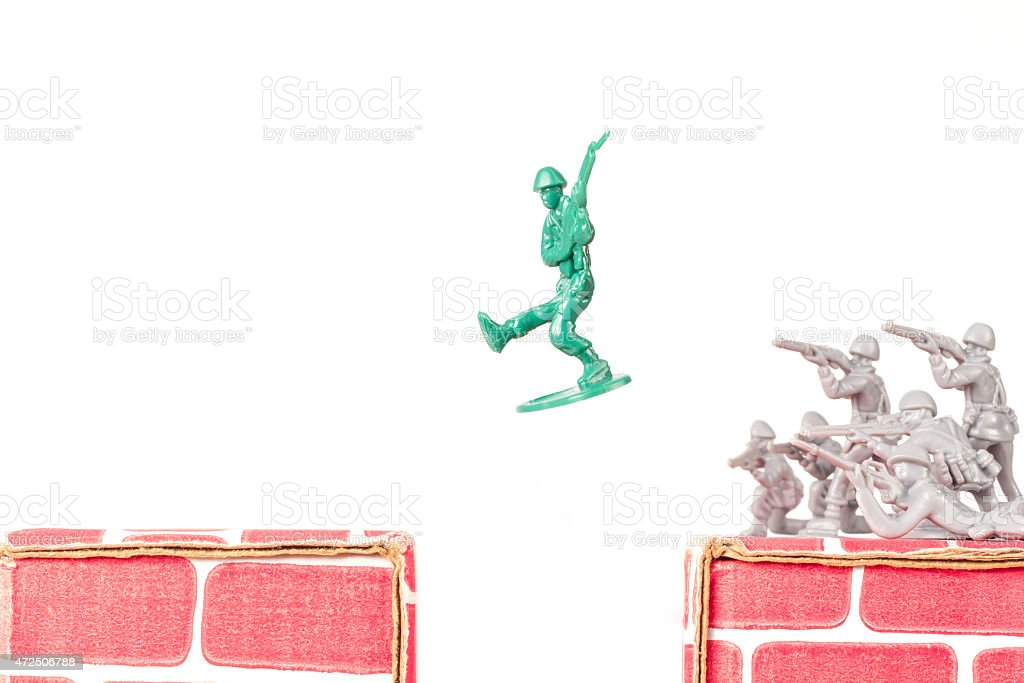 Green Army Man Escapes stock photo