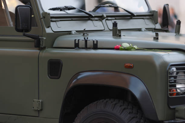 Green Army Soldier Jeep with Red Rose at Outside in Rome Italy 2013 Green Army Soldier Jeep with Red Rose at Outside in Rome Italy willys stock pictures, royalty-free photos & images
