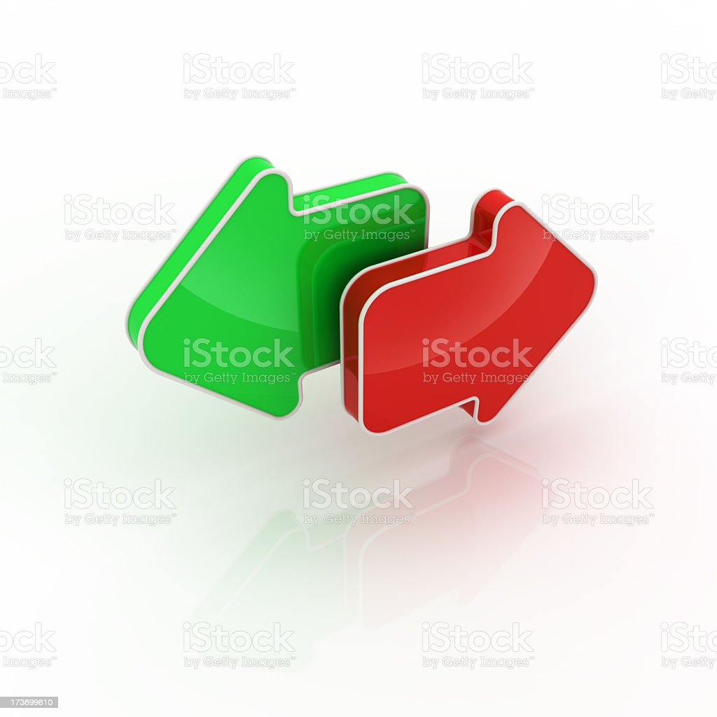 A green arrow pointing left and a red arrow pointing right stock photo