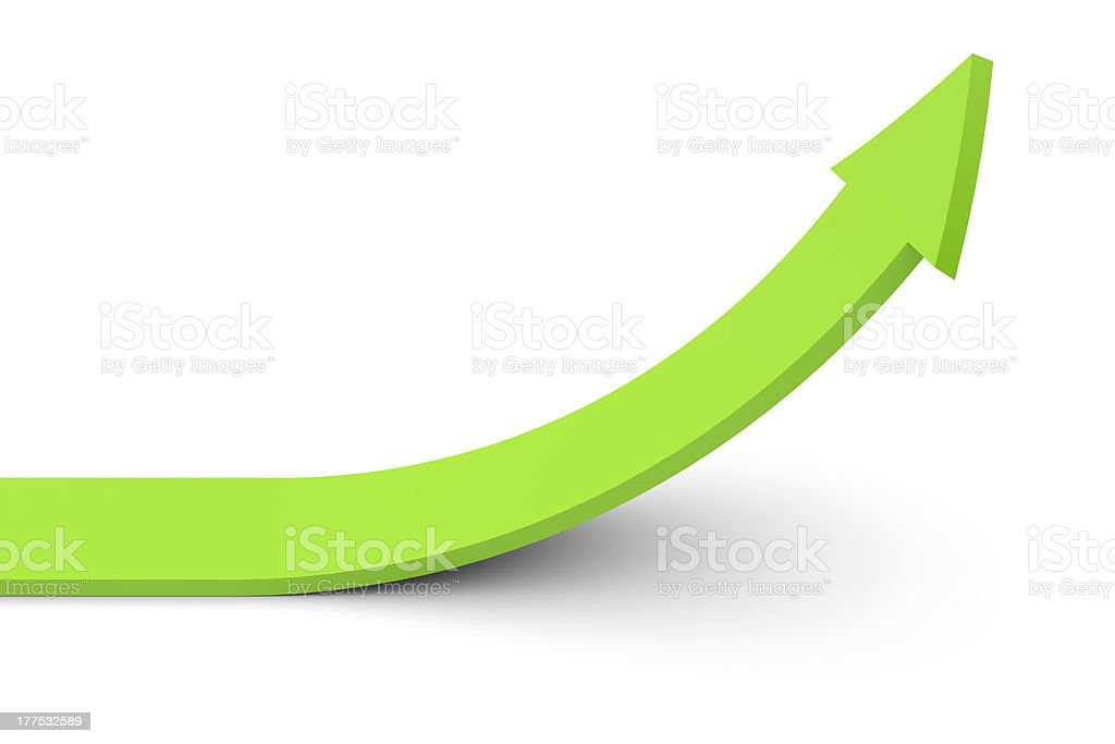 Green arrow pointing upward curve stock photo