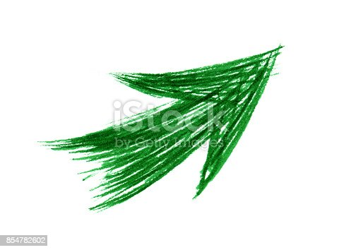 istock Green arrow symbol with brush stroke isolated on white background 854782602
