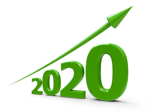 Green arrow up with 2020 stock photo