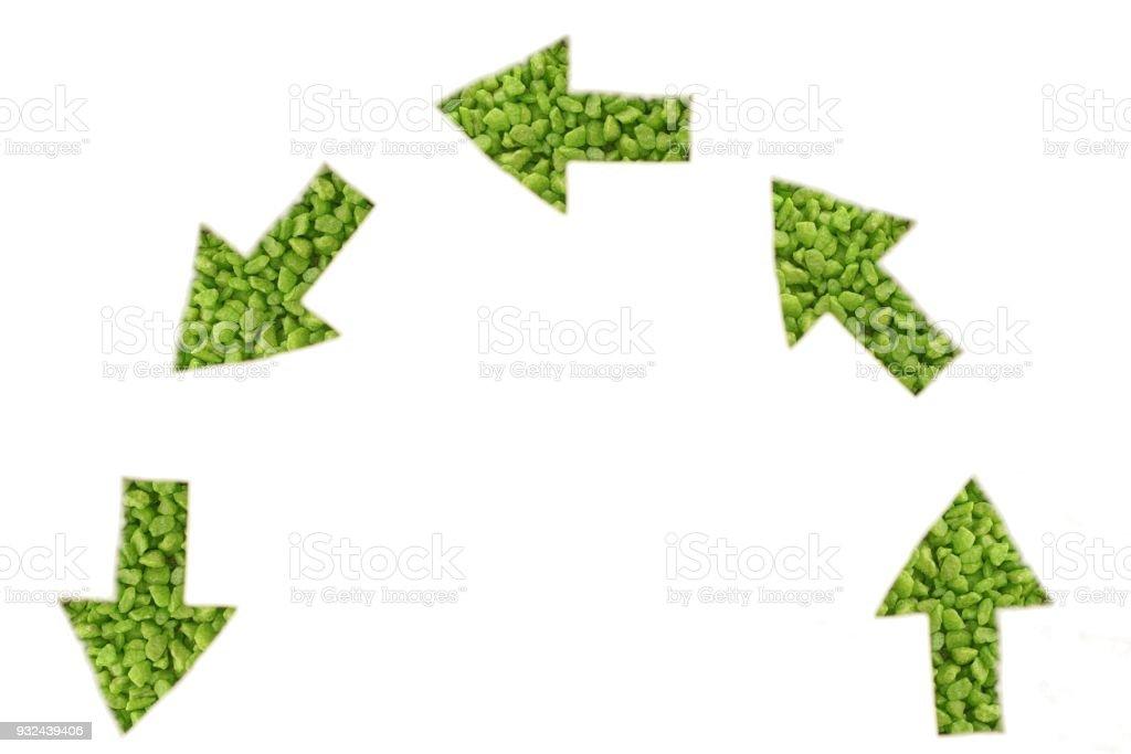 Green arrows note below stock photo
