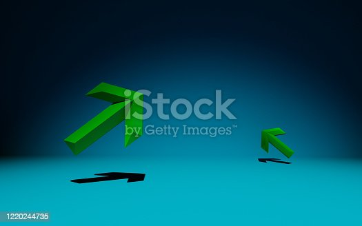 635932844 istock photo Green Arrows on blue background 1220244735