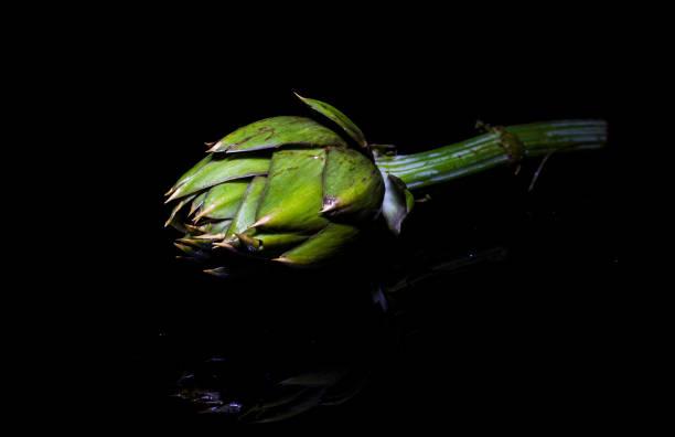 grüne artischocke auf schwarzem hintergrund - peperoni stiche stock-fotos und bilder