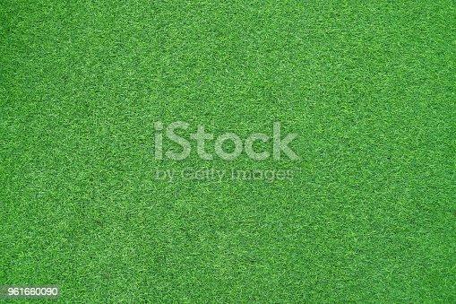 istock Green artificial grass textures 961660090