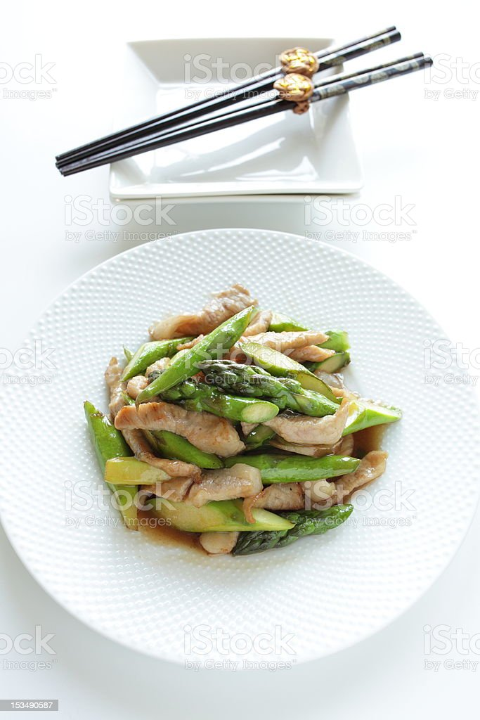 Green asparagus and pork stir fried royalty-free stock photo