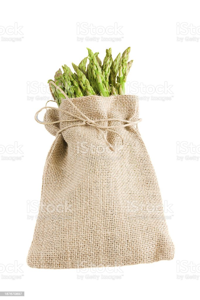 green asparagus in pouch royalty-free stock photo