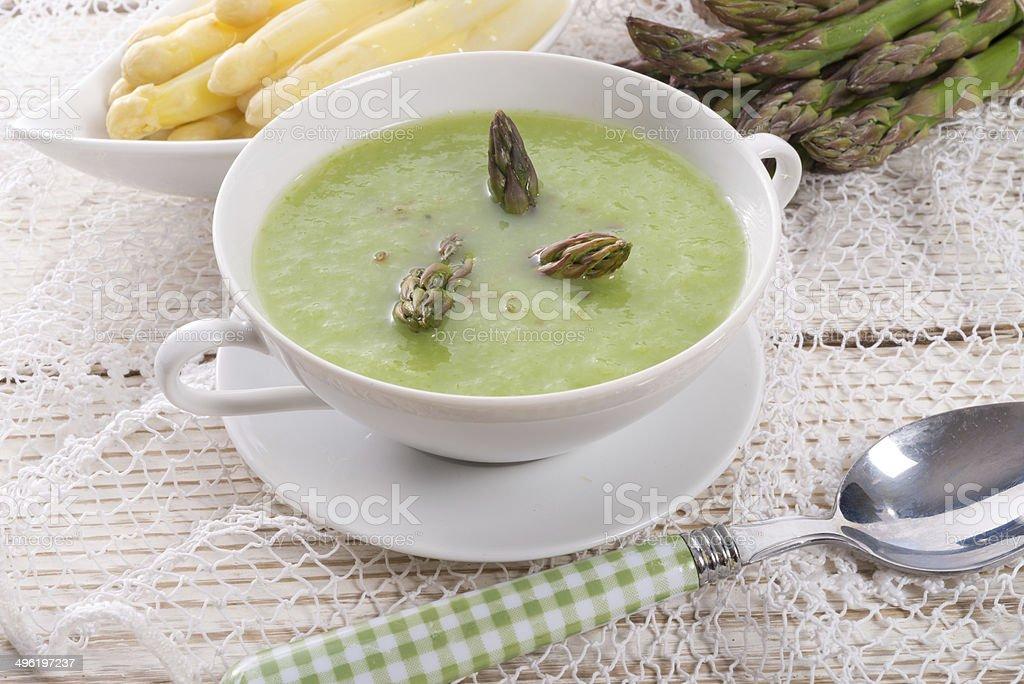 Green asparagus soup stock photo