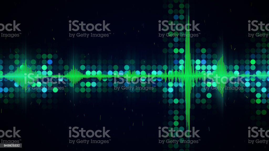 Green audio waveform equalizer abstract techno background stock photo
