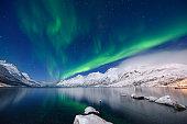 Green aurora borealis at Jokulsarlon bay in midnight sky, Tromso, Norway.