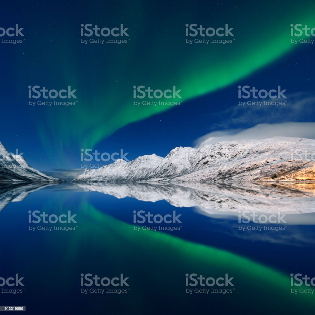 Green Aurora Borealis at Jokulsarlon, Tromso, Norway stock photo