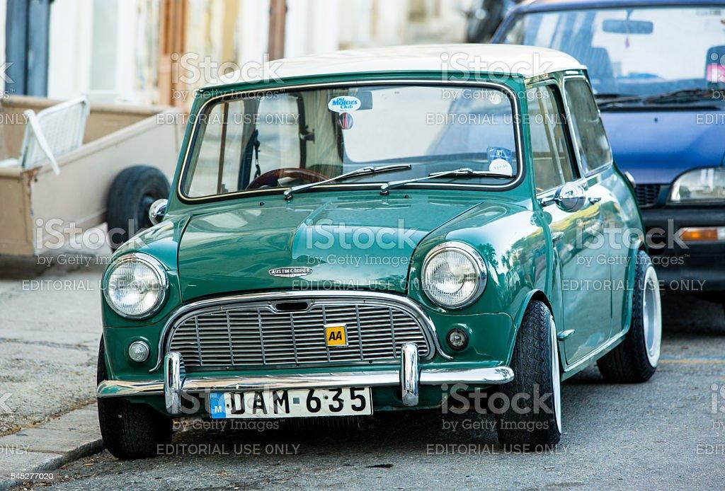 Green Austin Mini Cooper stock photo