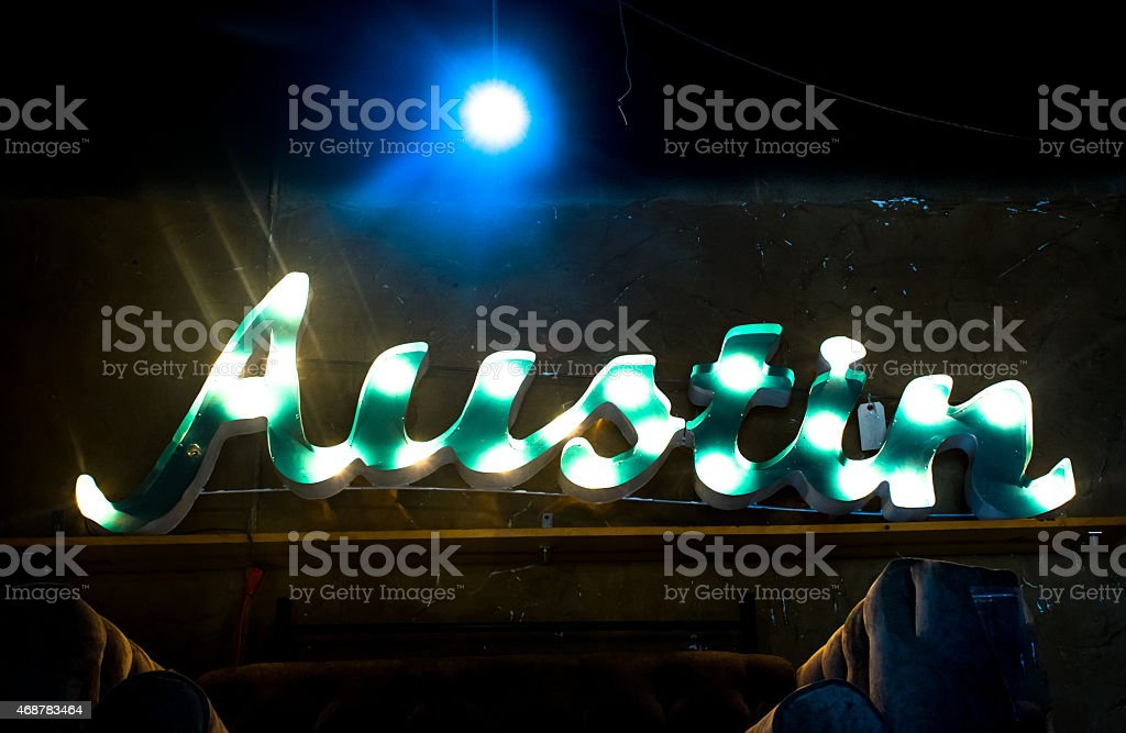 Green Austin Wall Light Up Sign stock photo