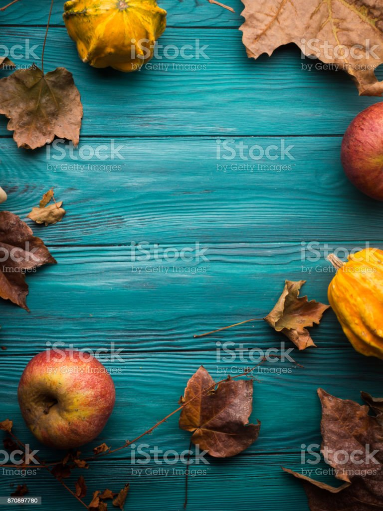 Green autumn background with pumpkin, leaves stock photo
