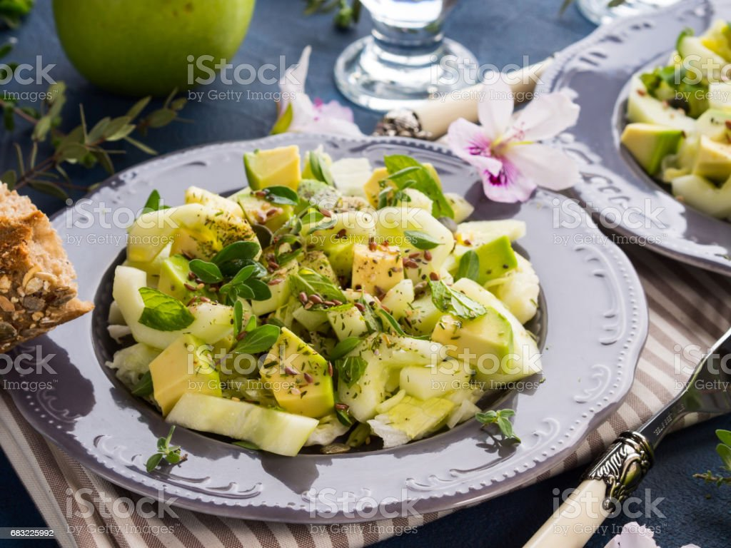 Green Avocado cucumber served healthy salad royalty-free 스톡 사진