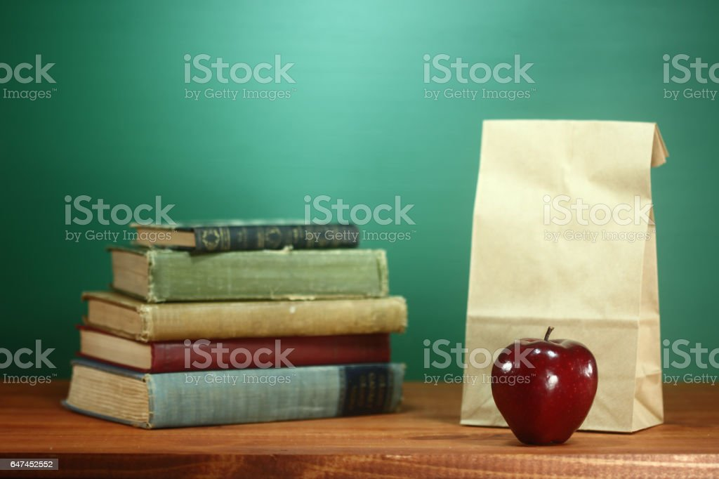 Green Back to School Themed Background Image stock photo