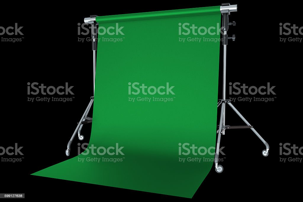 Green backdrop on tripod with black background stock photo