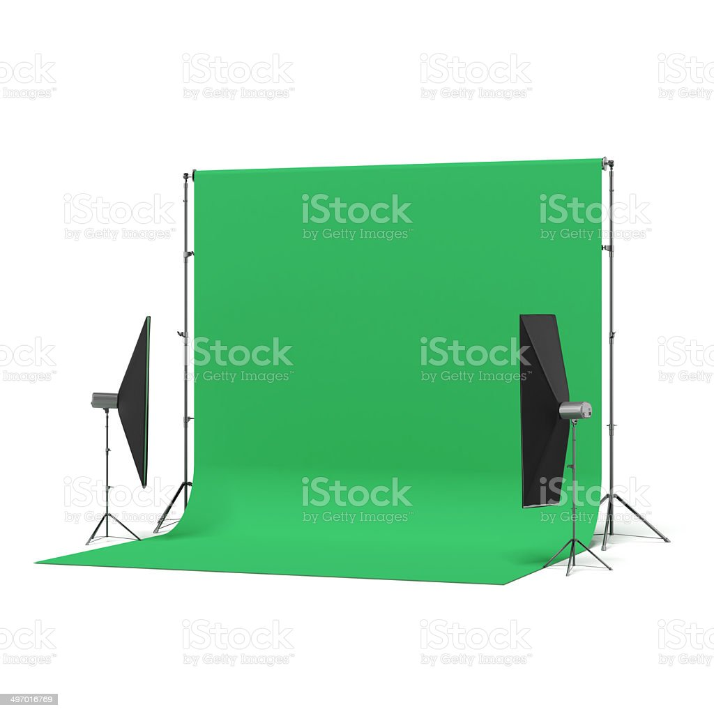 Green Backdrop with lights stock photo