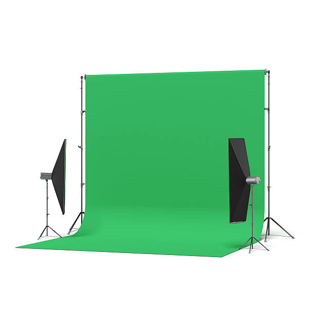 green backdrop with lights - green screen background stock photos and pictures