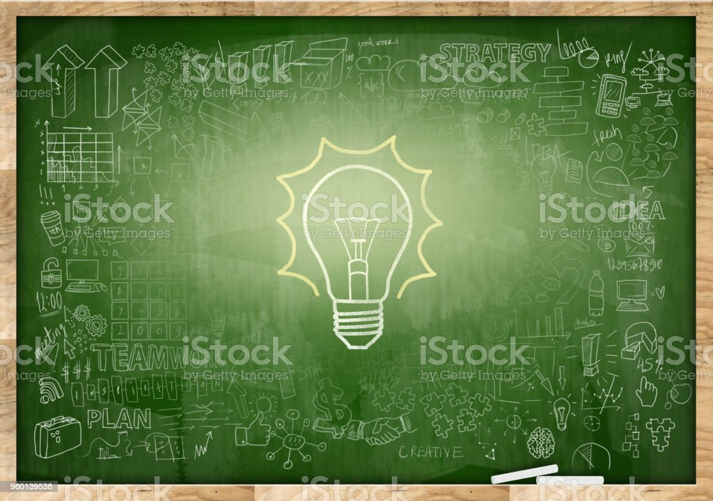 LIGHT BULB / Green background concept (Click for more) stock photo