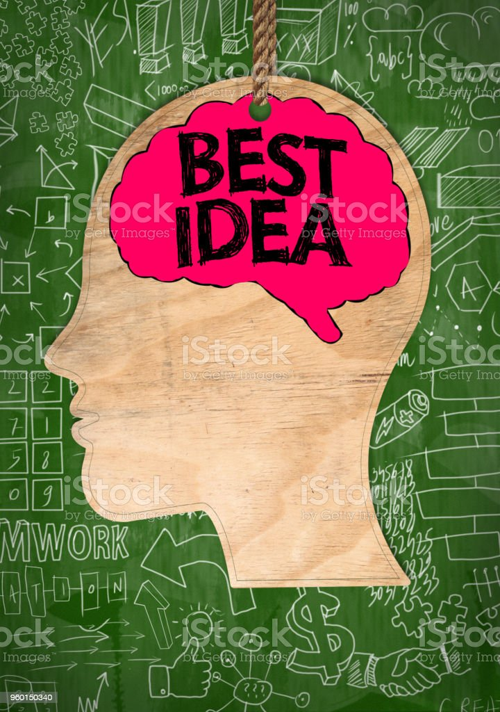 BEST IDEA /Green background concept (Click for more) stock photo