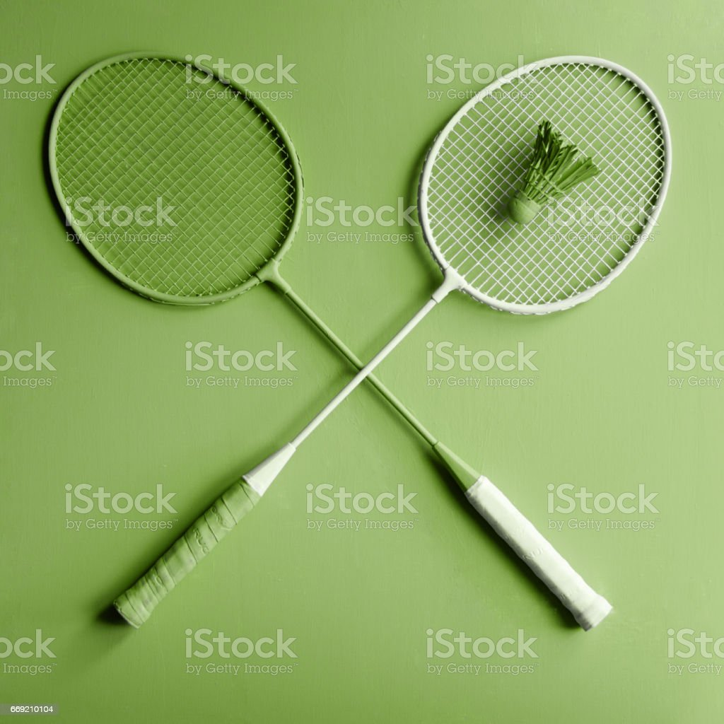 Green badminton rackets. Greenery sport stock photo