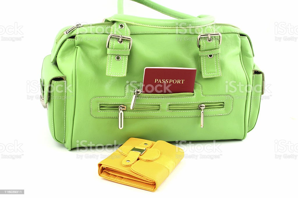 green bag and yellow wallet royalty-free stock photo