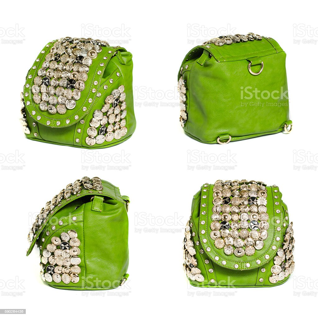 green bag in the four angles stock photo