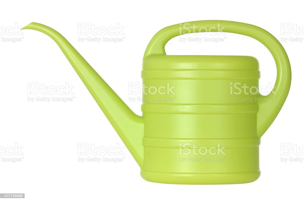 Green bailer or watering can with a handle and a long spout stock photo