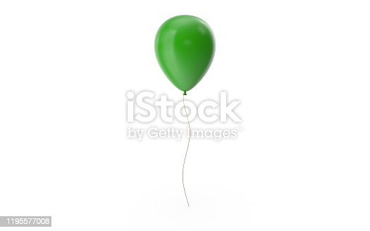 Green balloon on a white background with drop shadow and ready to crop out for all your design needs. 3D Rendering.
