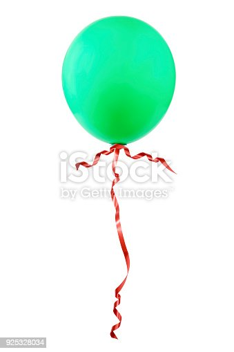 istock Green balloon with red ribbon 925328034