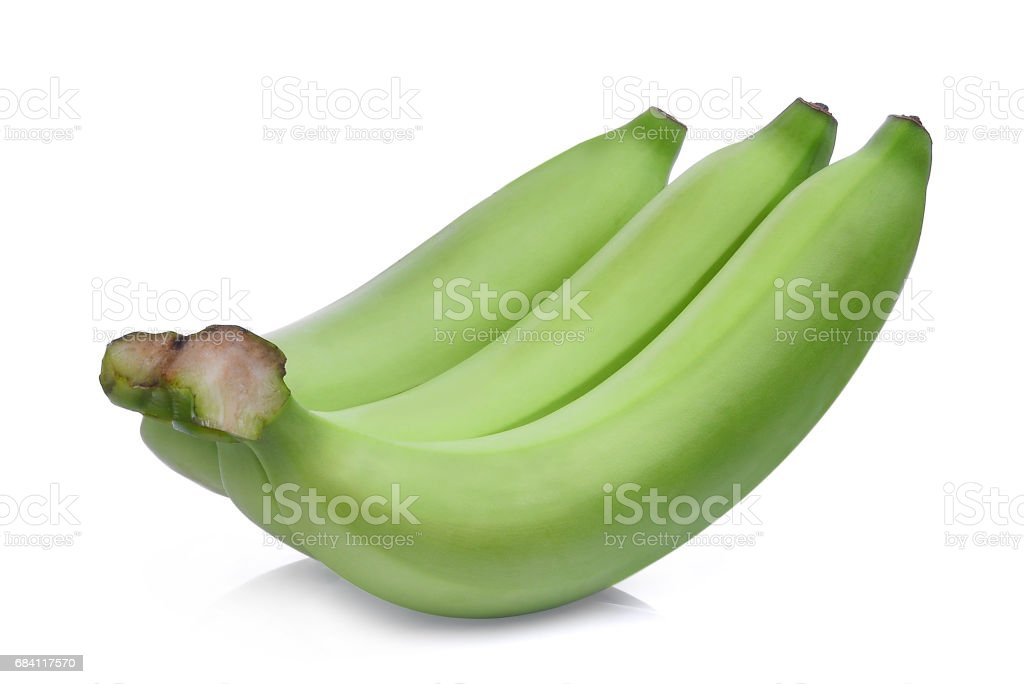 green banana isolated on white background foto stock royalty-free