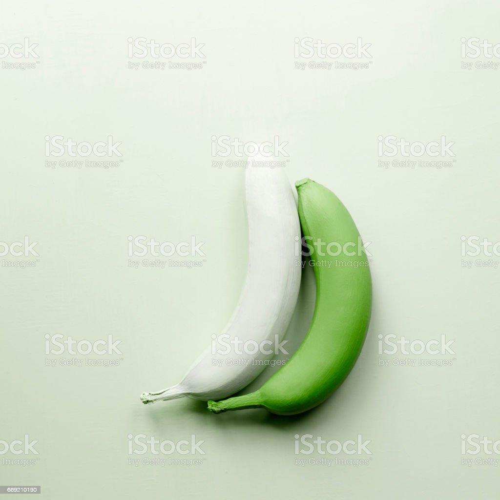 Green bananas. Fruit greenery art stock photo