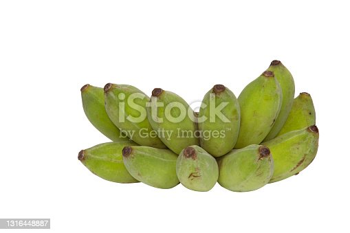 Green bananas isolated on white background with cipping path.