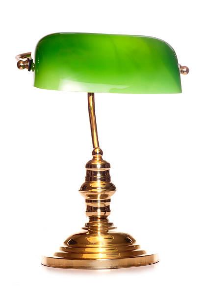 green bankers lampe - bürolampe stock-fotos und bilder
