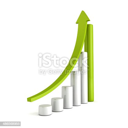 465048456istockphoto Green Bar Chart Business Growth With Rising Up Arrow 486568955