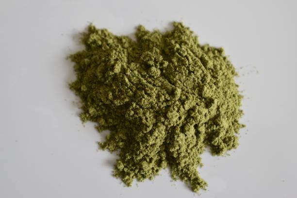 스무디 녹색 보리 잔디 분말 - 배경으로 사용할 수 있습니다 스톡 사진