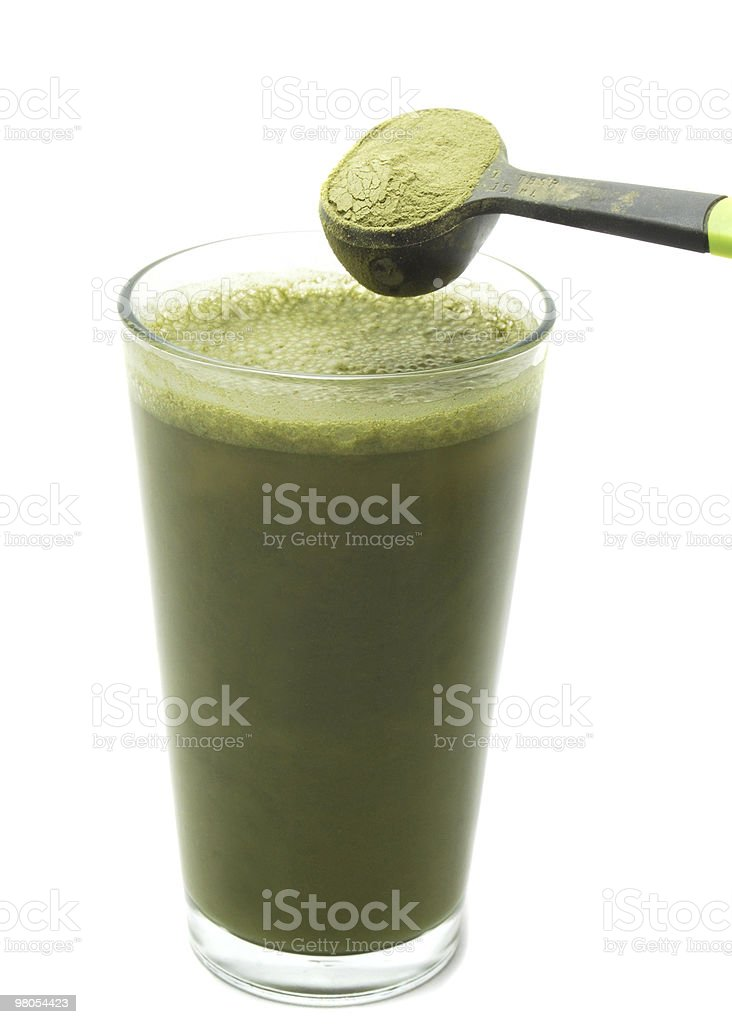 Green Barley Grass Powder with Juice Drink royalty-free stock photo