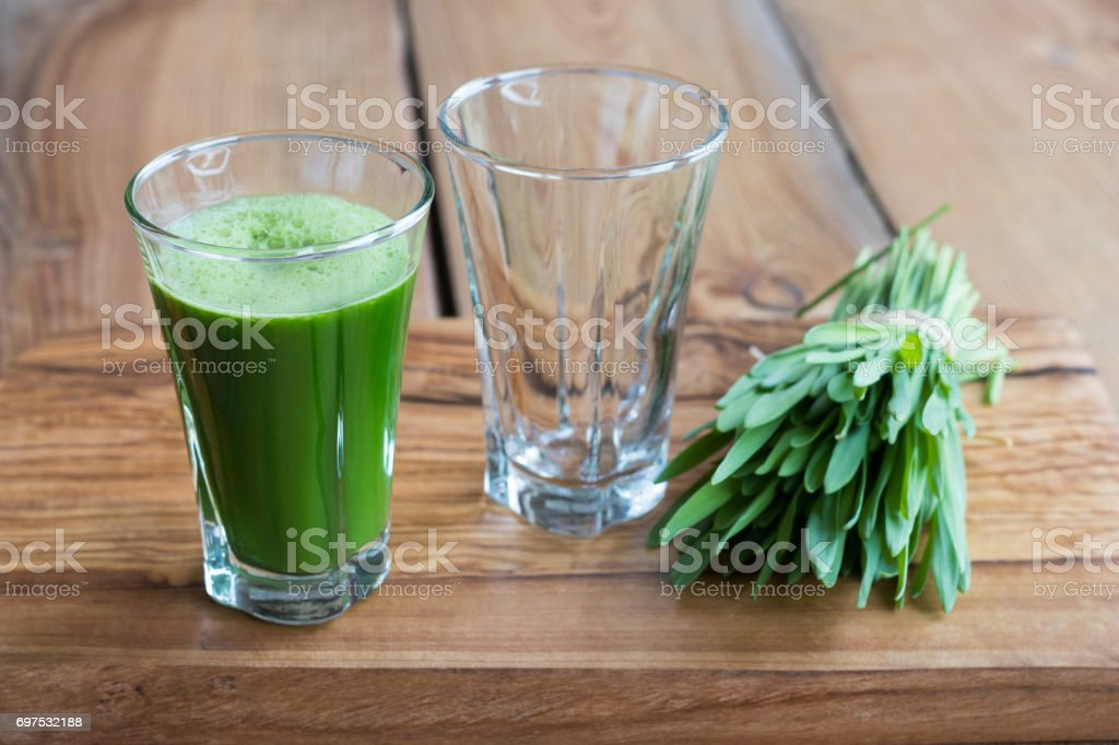 Green barley grass shot stock photo