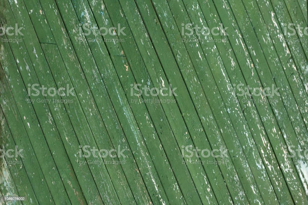 Green Barn Wooden Wall Planking Square Texture. Old Solid Wood Slats Rustic Shabby Frame Background. Paint Peeled Grungy Weathered Isolated Surface. Faded Natural Wood Board Panel stock photo