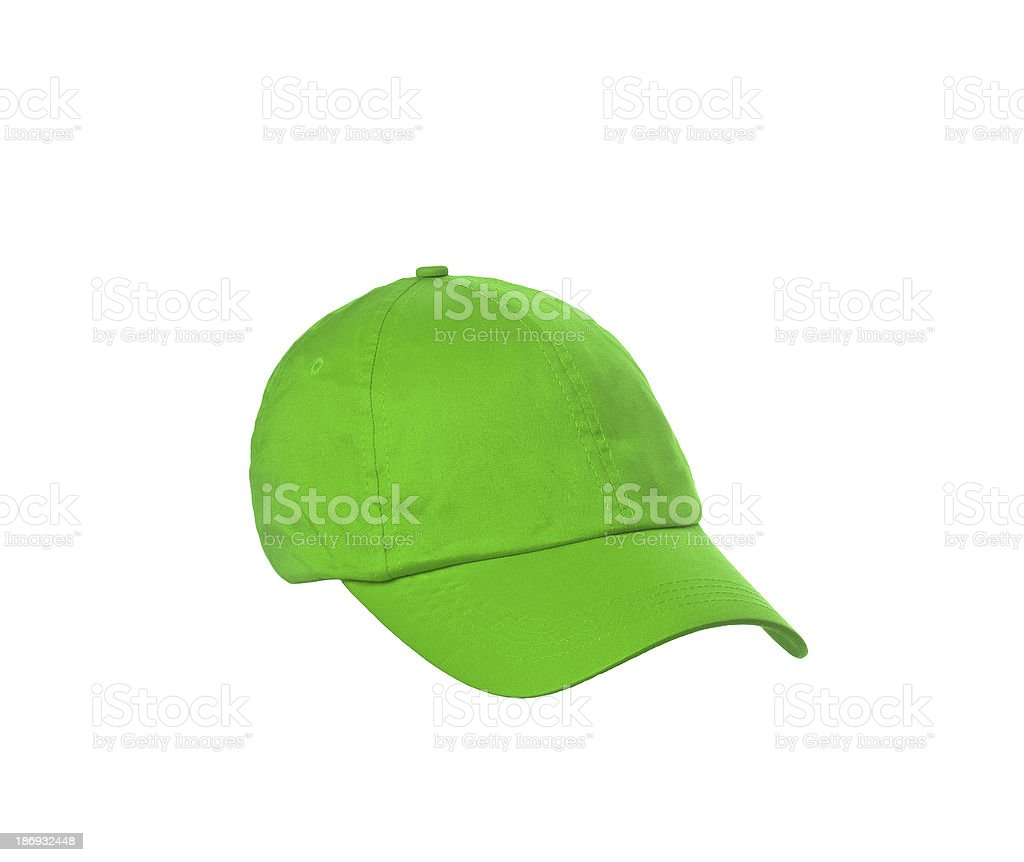 green baseball cap is isolated on a white royalty-free stock photo
