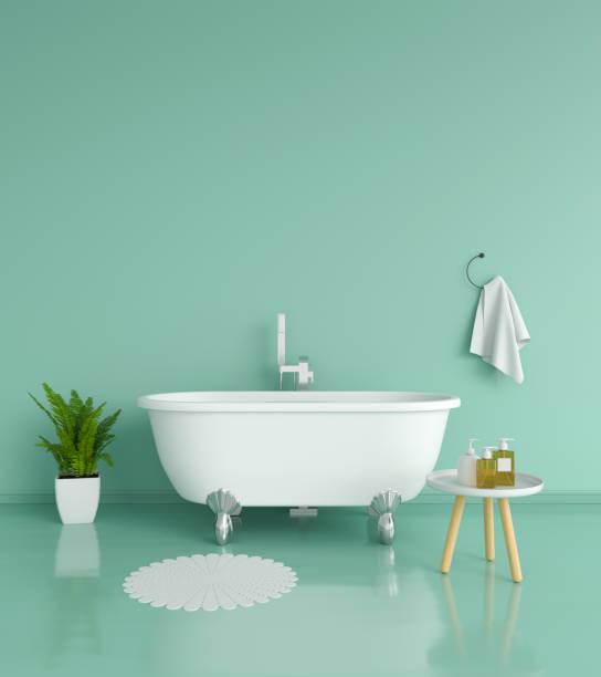 grüne bad, 3d rendering - minimalbadezimmer stock-fotos und bilder