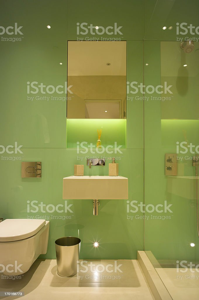 Shower room with mirror cabinet, basin and WC. Wall is lined in green...