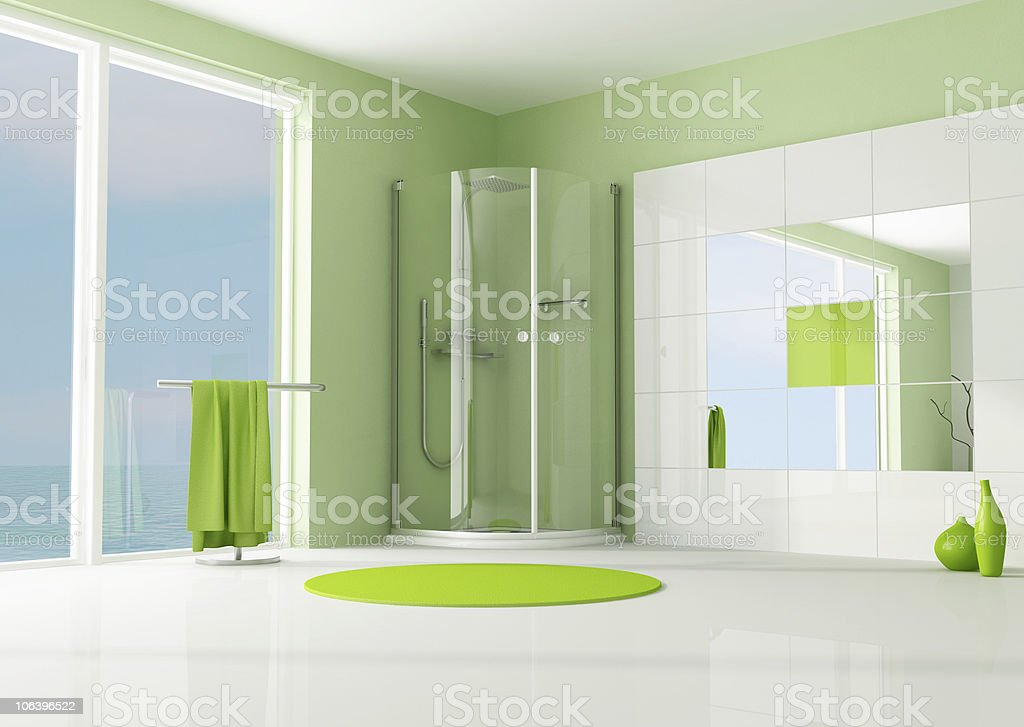 green bathroom with cabin shower royalty-free stock photo